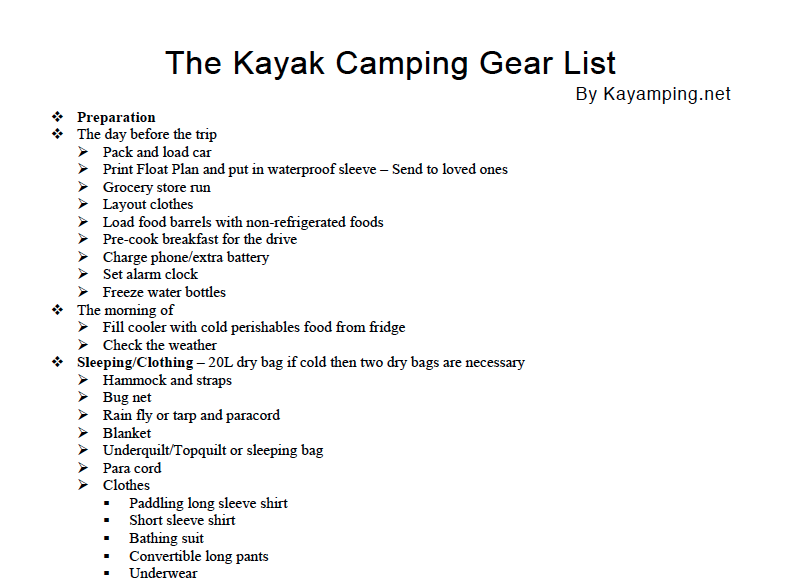 Kayak Camping Gear List Snippet 2